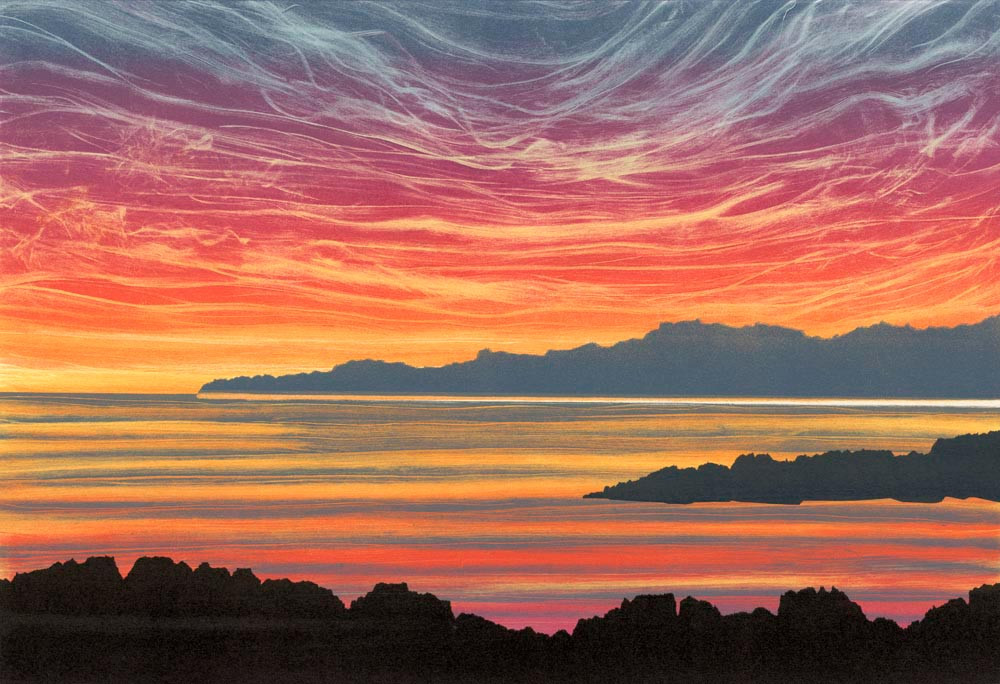 Rebecca Vincent landscape painting UK. Sunset afterglow. Colourful sky rocky headland expressive style