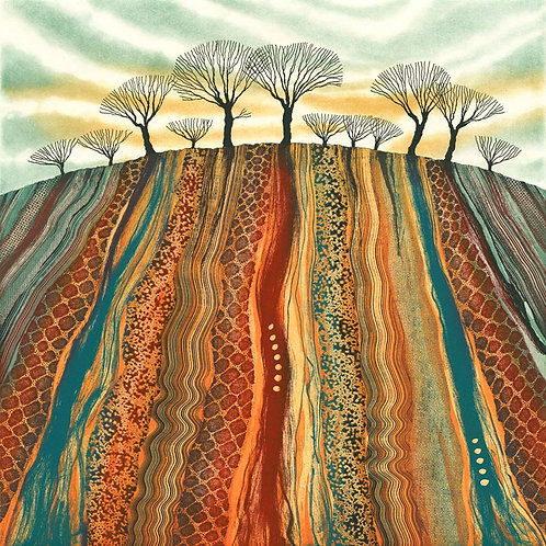 Land Marks landscape etching by Northumberland UK artist Rebecca Vincent rural art countryside trees ploughed field