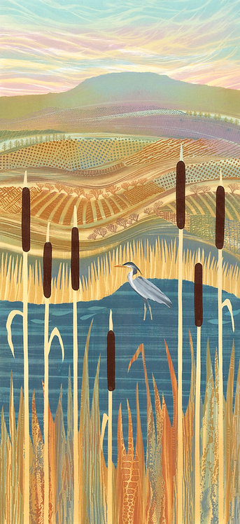 Beyond the Bulrushes heron pond reedmace landscape painting print Rebecca Vincent Northumberland UK