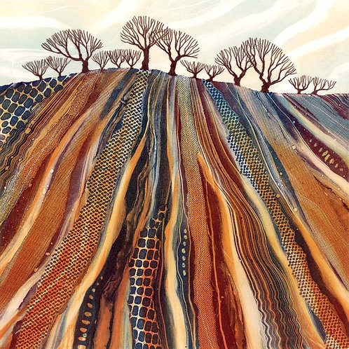 Ploughed field art print by UK northumberland landscape artist Rebecca Vincent trees countryside rural