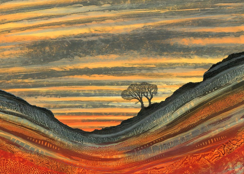 Two trees craggy hillside sunset orange red geology patterns Rebecca Vincent Northumberland painting