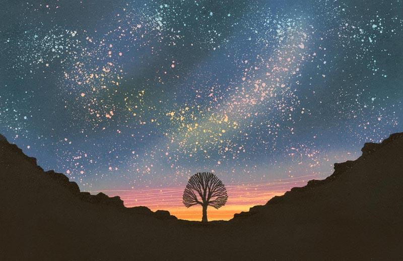 Sycamore Gap northumberland night sky original monotype painting