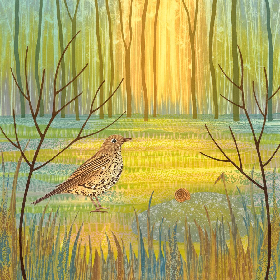 Rebecca Vincent art Northumberland North East song thrush bird lover gift painting print
