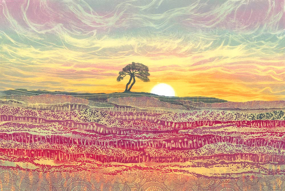 Rebecca Vincent landscape painting UK. North Yorkshire Moors lone tree. Sunrise colours with heather