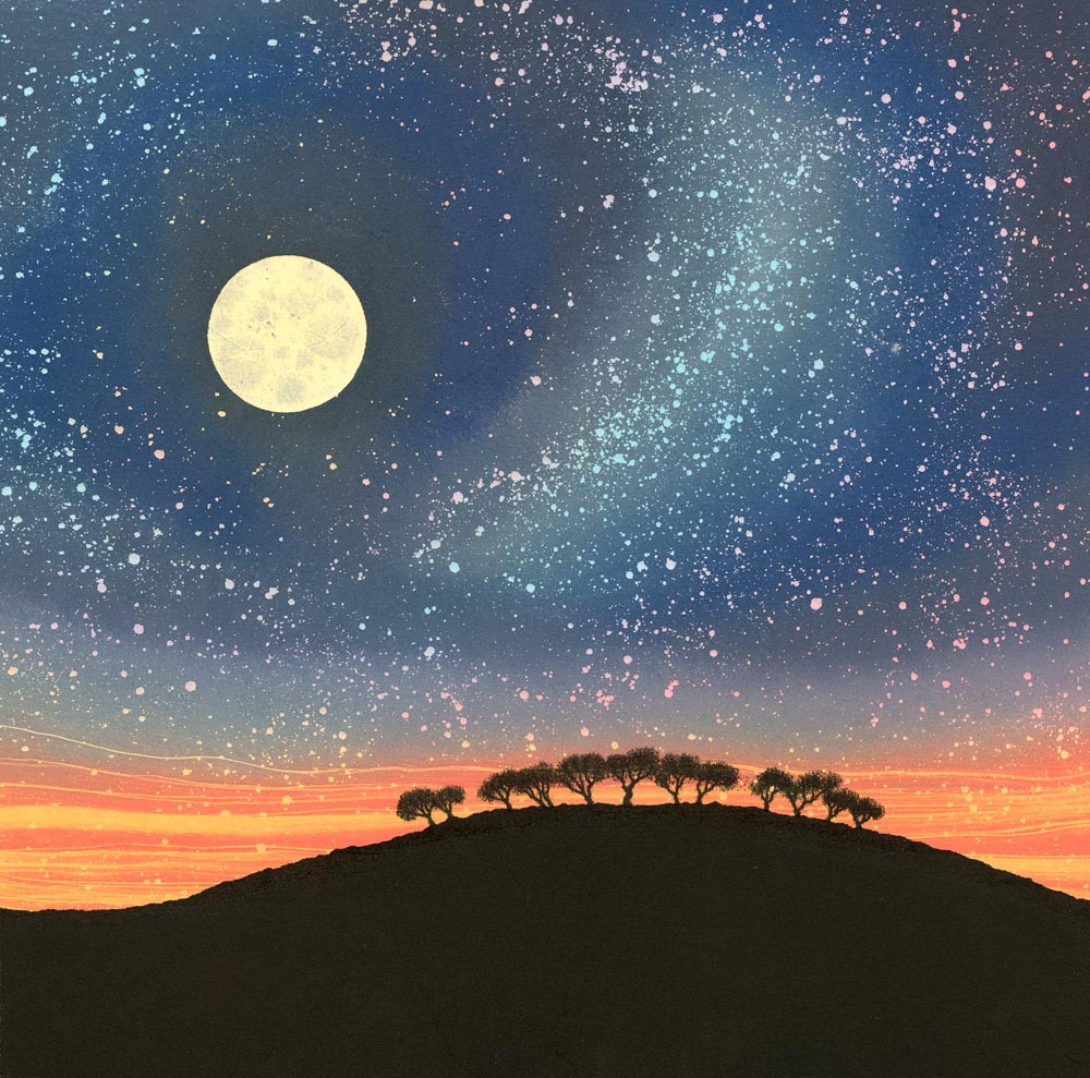 Full moon night sky painting with trees by Rebecca Vincent Northumberland art