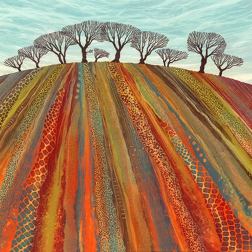Rebecca Vincent ploughed field patterns winter trees art painting red green textures