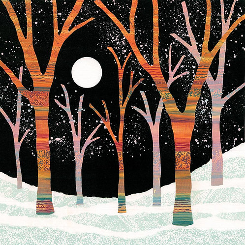 Moonlight Magic original monotype painting by UK Northumberland artist Rebecca Vincent moon colourful trees snow