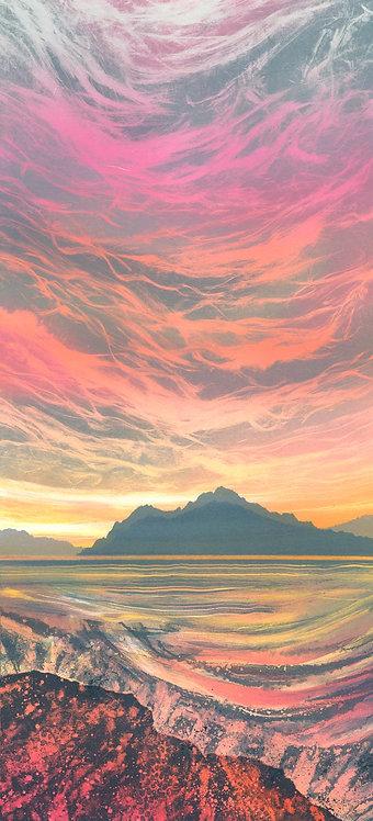 Rebecca Vincent print monotype painting original rosy fingered dawn odyssey island pink dawn sunrise sea