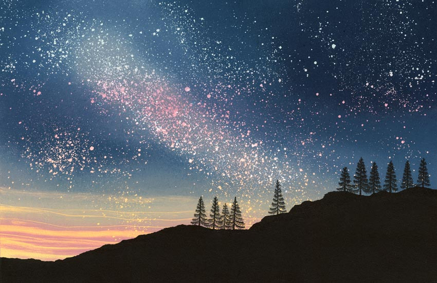 Night Sky painting Rebecca Vincent print stars tress dramatic milky way fir trees silhouette Yorkshire North East England UK