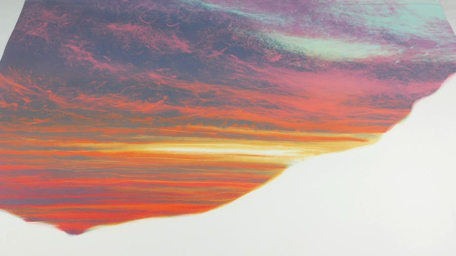 Sunset monotype painting Rebecca Vincent work in progress