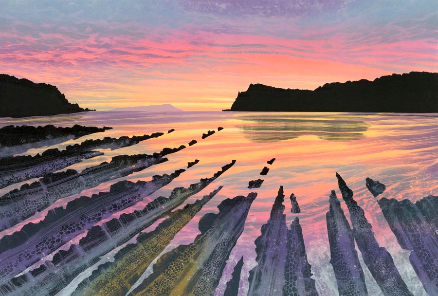 Rebecca Vincent lulworth cove sunset original painting