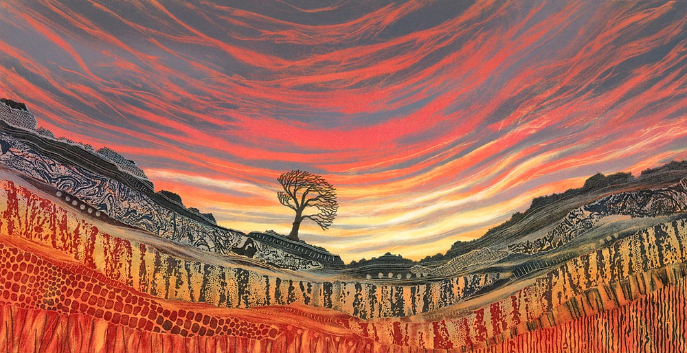 Rebecca Vincent landscape painting UK. Red sky at Night. Sunset, lone tree and craggy rocks.