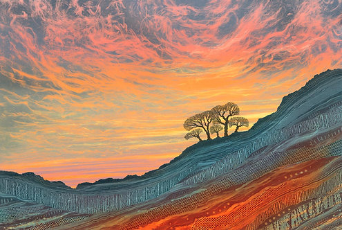 Rebecca Vincent landscape painting sunset winter trees rich colours Northumberland Yorkshire