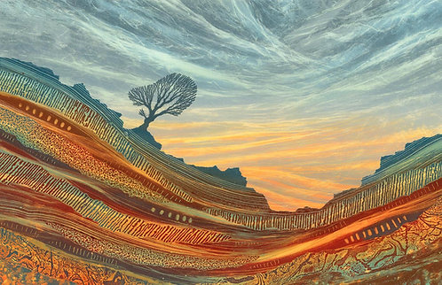 Rooted landscape monotype painting Rebecca Vincent lone tree craggy rocks yorkshire patterns textures