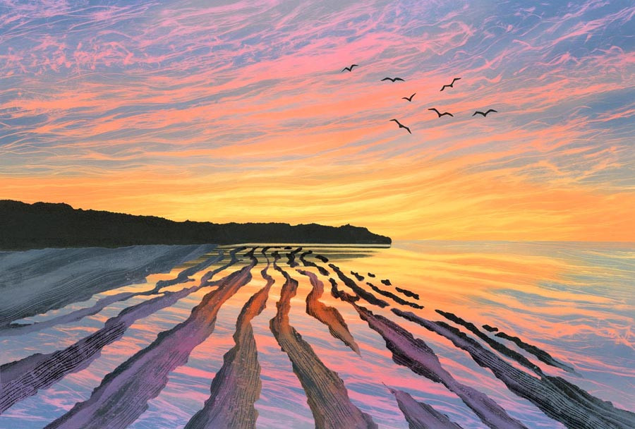 Rebecca Vincent sunrise dawn nothumberland coast painting artist