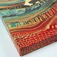 Rebecca Vincet landscape painting canvas print colourful red brimham rocks yorkshire patterns
