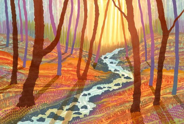 Woodland monotype paintings