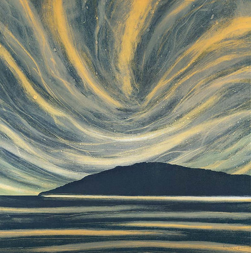 Northern Light print bu Northumberland UK artist Rebecca Vincent seascape moody sea sky headland scotland coast