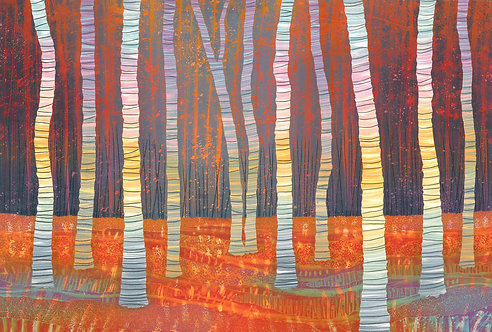 Rebecca Vincent silver birch woodland painting autumn
