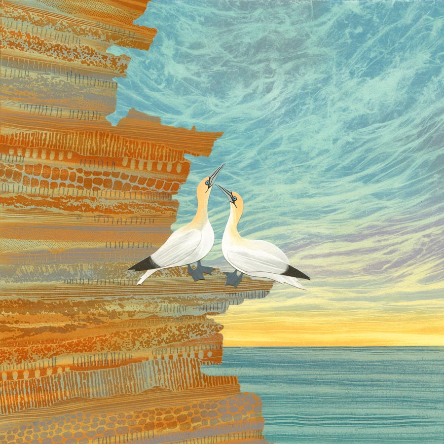 Northumberland art Rebecca Vincent Gannets sea birds cliffs painting print