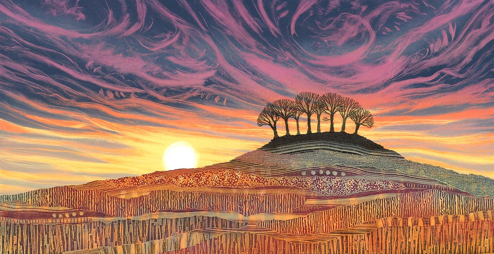 Rebecca Vincent landscape painting UK. A stand of trees on the horizon. Sunset colours blue and pink