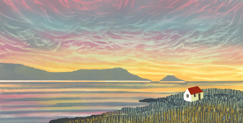 Rebecca Vincent landscape painting UK. A croft at dawn in the Outer Hebrides