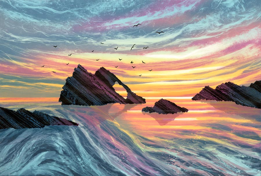 Guiding Light Bow Fiddle Rock sea arch scotland original painting by artist Rebecca Vincent