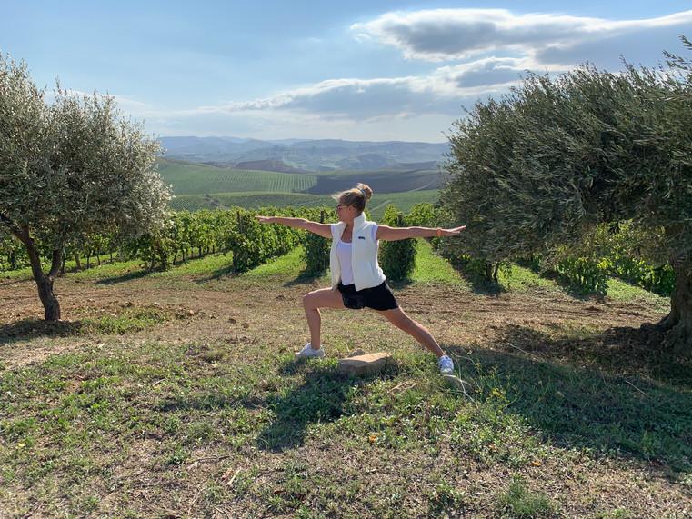 Yoga at the vineyard.