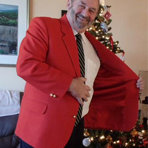 Red Veteran Blazer Serge Fabric