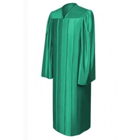 Emerald Green Satin Graduation Gown