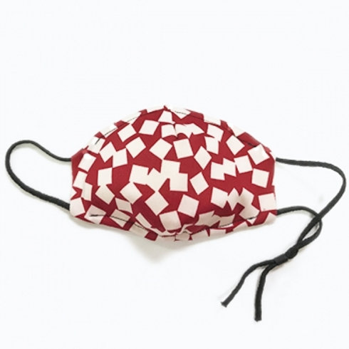 Red & White Grid Mask