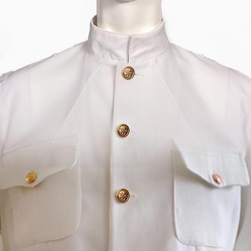 High Collar White Navy Jacket