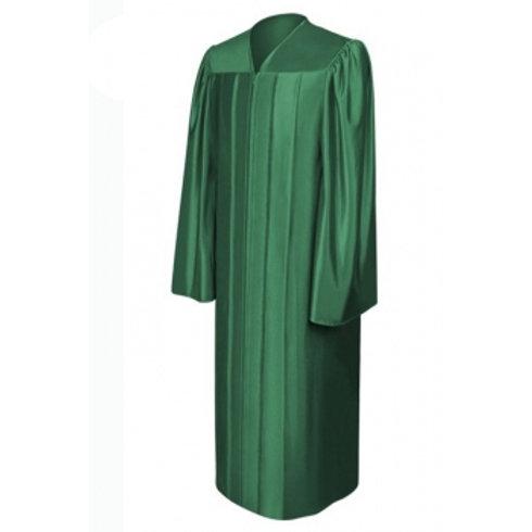 Hunter Green Satin Graduation Gown