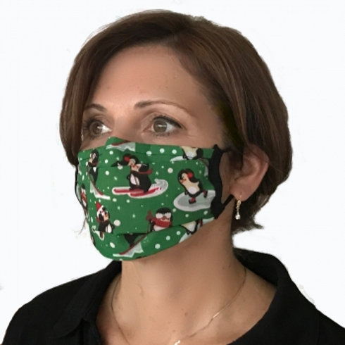 Winter Penguins on Green Center Pleat Style Mask