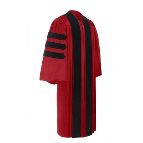 Deluxe Doctorate Graduation Gown, Scarlett With Black Velvet Bars