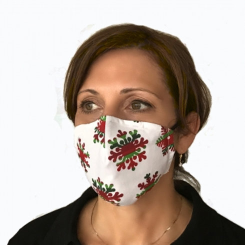 Red & Green Snowflakes Contour Mask