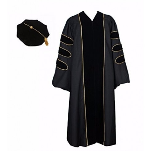 PHD Black Gown With Black Velvet & Gold Piping