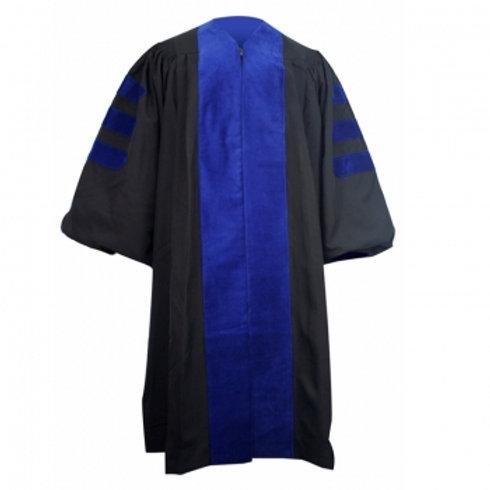 PHD Black Gown With Royal Blue Velvet Bars
