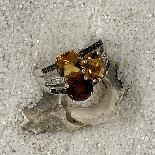 Shades of Citrine Ring 10kt WG