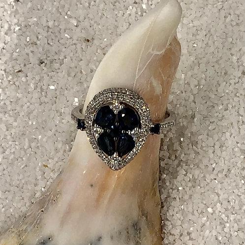 Dark Blue Sapphire and Diamond Ring set in 14kt White Gold