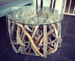 Round Driftwood Side Table