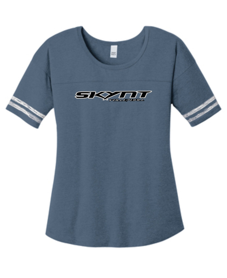 ST487 Navy Ladies Scorecard Tee w/ Team Logo