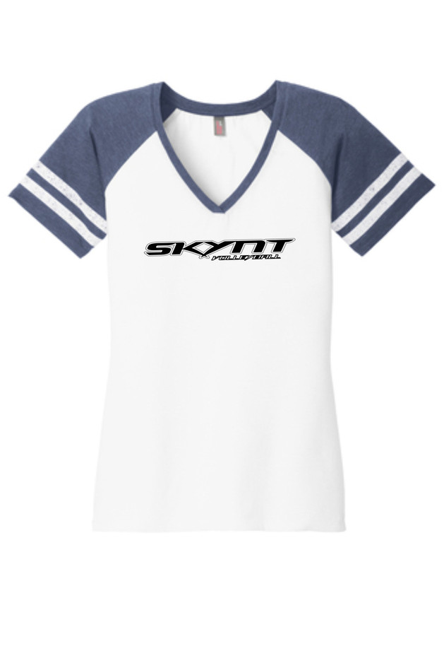 DM476 White/Navy Ladies Game Tee w/ Team Logo