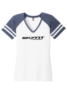 DM476 White/Navy Ladies Game Tee w/ Team Logo