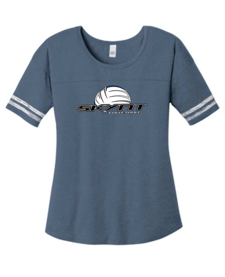 DT487 Navy Ladies Scorecard Tee w/ Skynt Logo