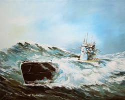 030-U-Boot-Darstellung-Oel-auf-Leinwand-40-X-50-cm-1999