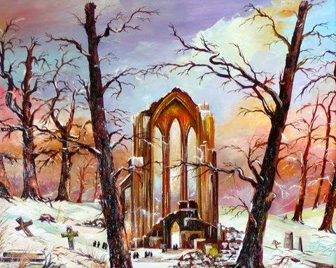 Friedhofsruine im Schnee