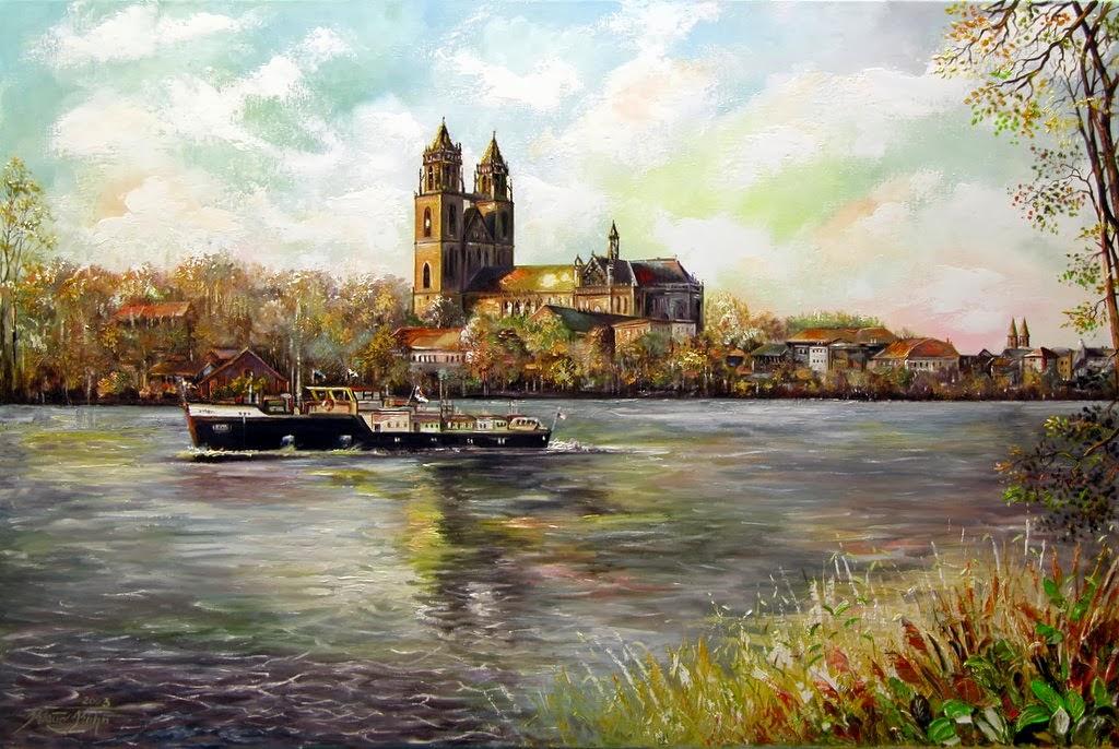 Blick über die Elbe zum Magdeburger