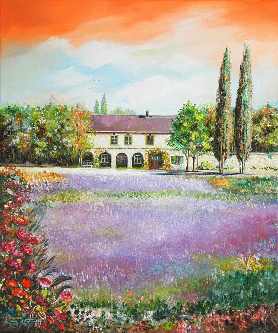 Lavendelfeld Mediterrane Darstellung