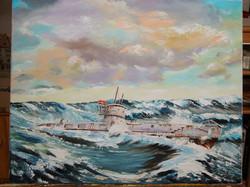 050-U-Boot-Darstellung-Oel-auf-Leinwand-30-X-40-cm-2000